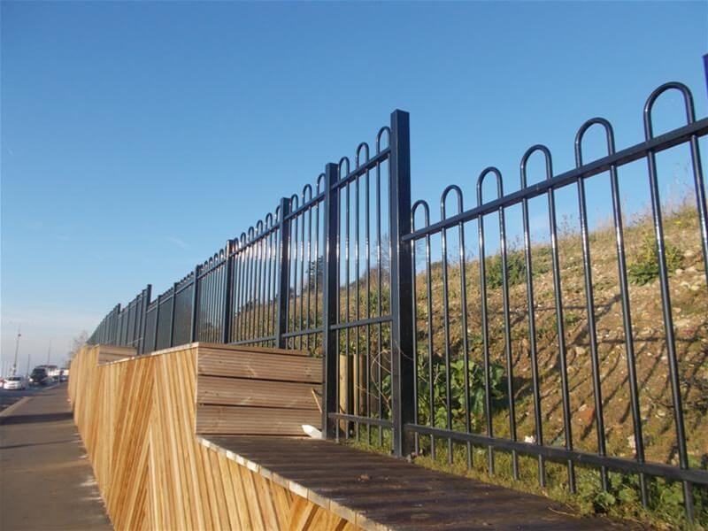 Stepped black powder coated Bow Top fencing