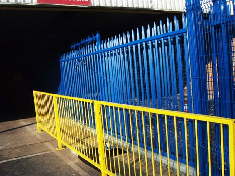 Automated sliding gate and pedestrian guard rail