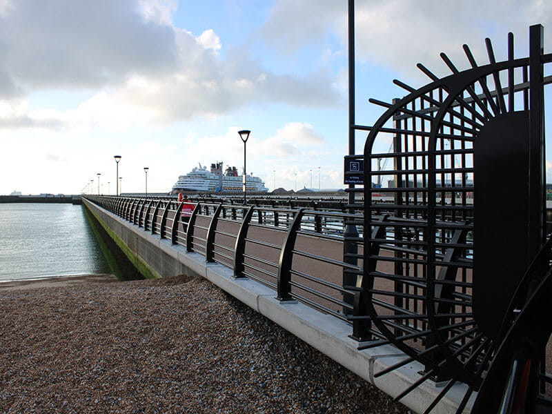 Black Barbican® fencing fan panels at Dover pier