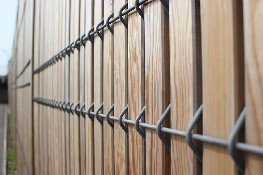 Timber and steel security fencing