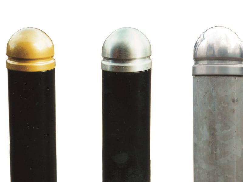 Galvanised metal bollards gold and silver