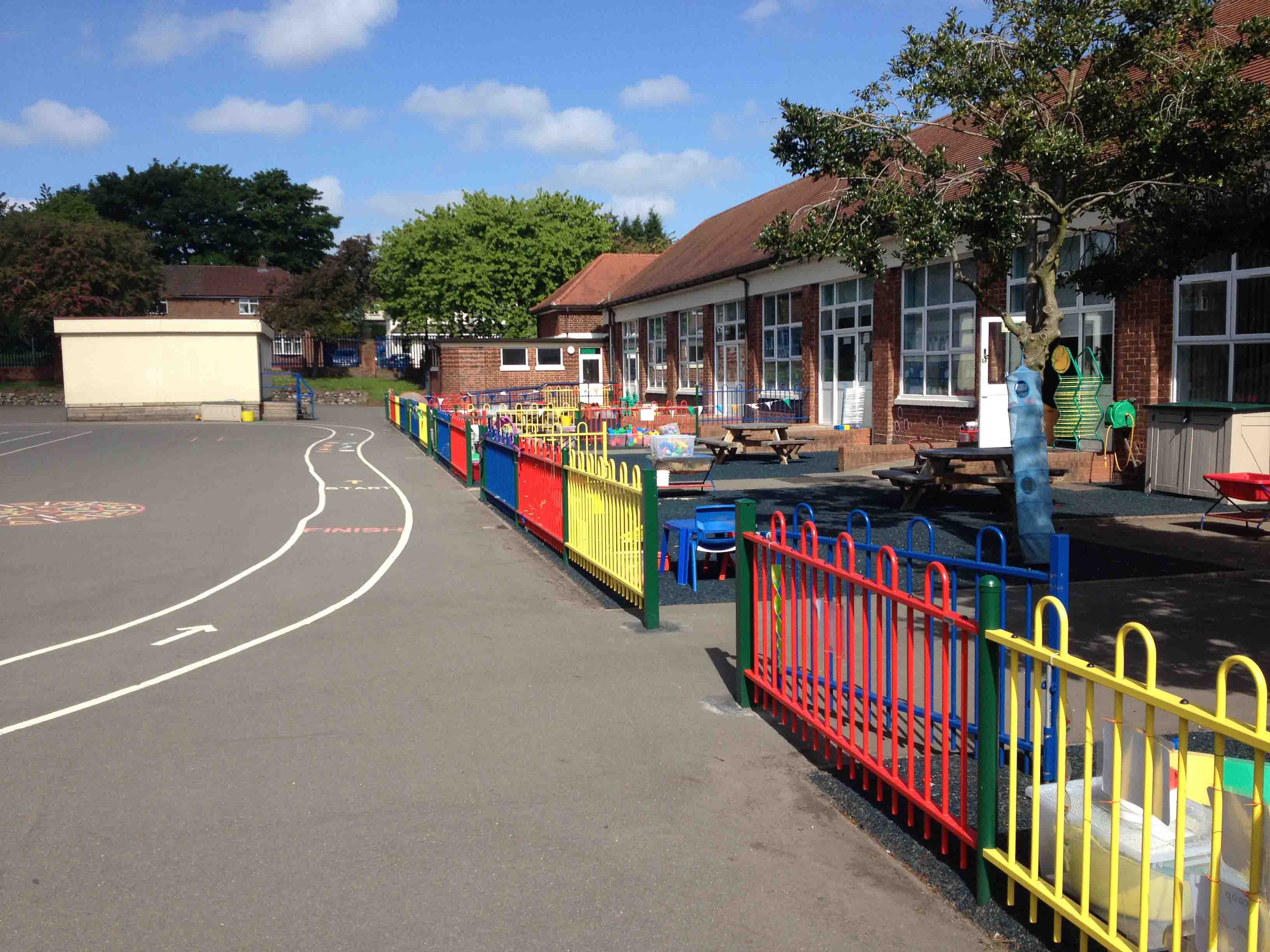 Coloured playground fencing