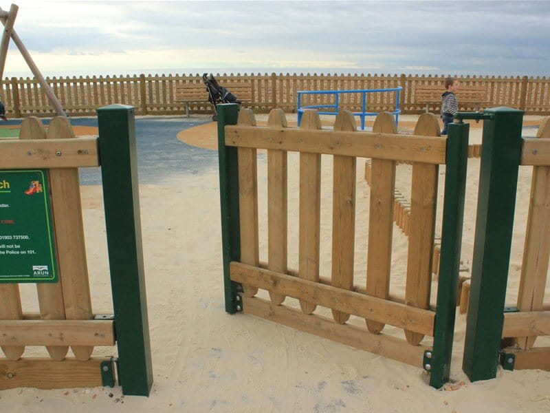 Playground gate timber self closing