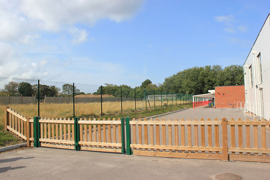 Timber playground fencing