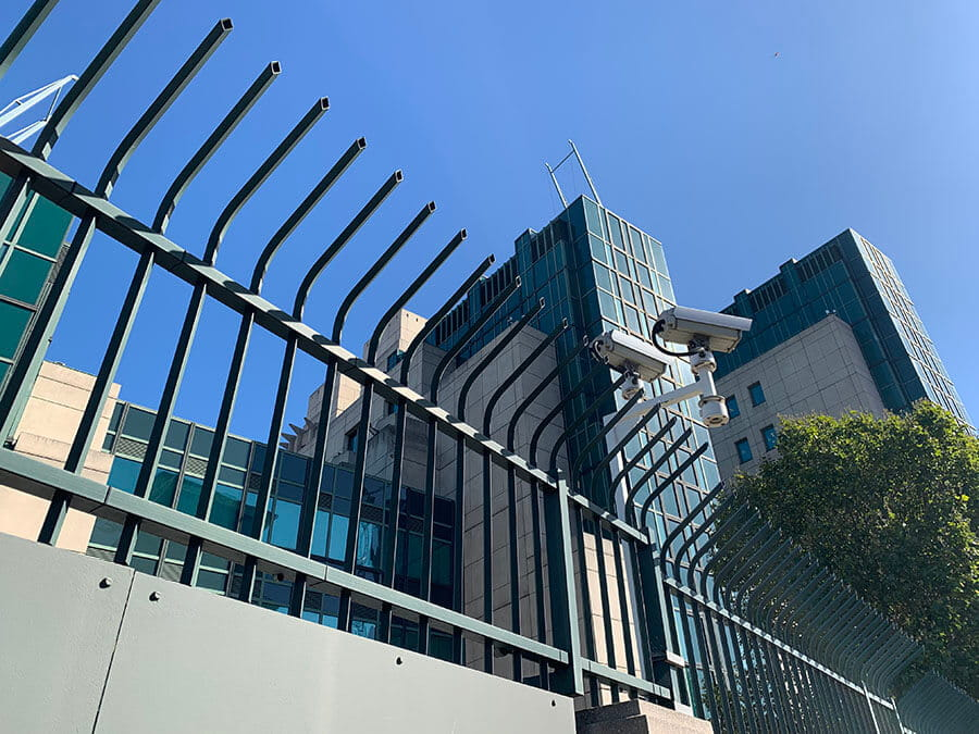 Barbican Defender Xtreme Vertical Bar Fencing protecting high security building