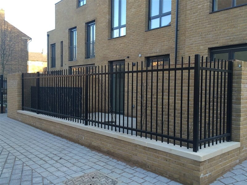 Barbican Imperial vertical bar railings with a black powder coated finish