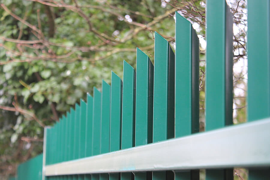 Vertical bar fencing close up