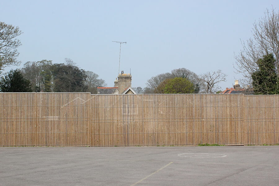 Euroguard Combi Timber and Steel Fence around school sports pitch