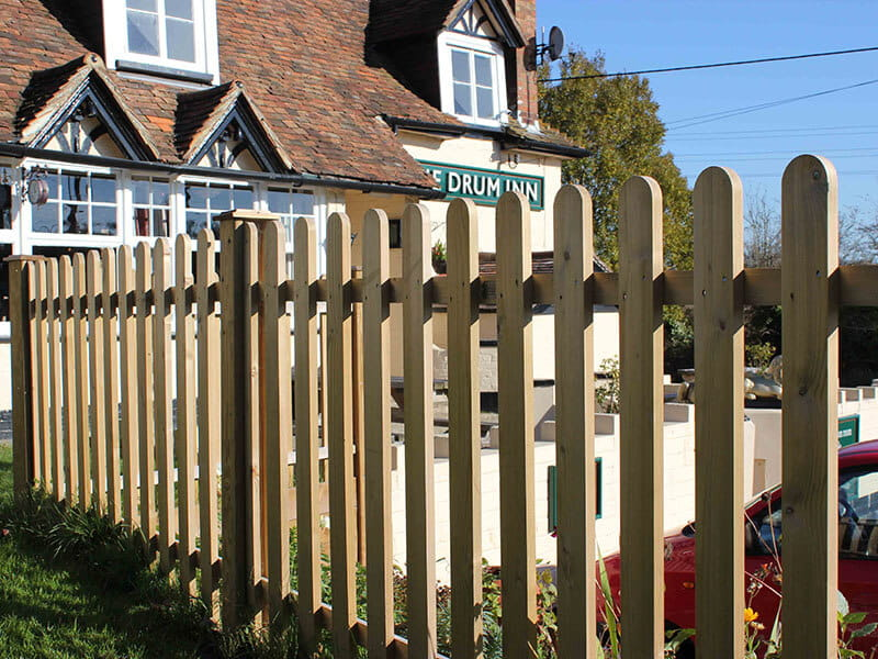 Timber fencing for pub