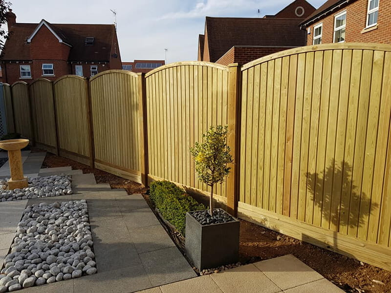 Curved tongue and groove fence panel